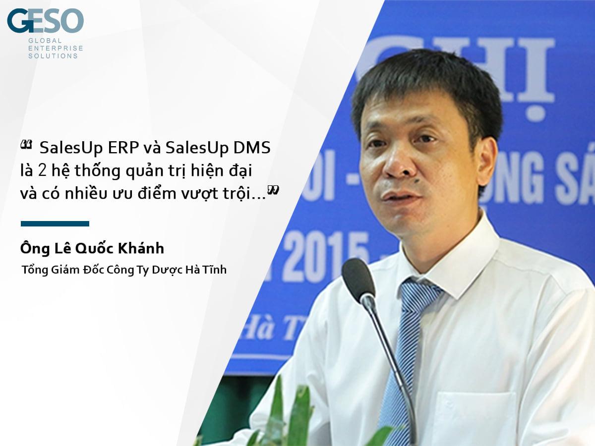 Tổng giám đốc Hadiphar phát biểu trong buổi bàn giao phần mềm Salesup DMS và ERP